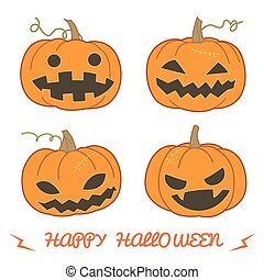 Set of pumpkin for Halloween (Jack 'O Lantern) in various ...