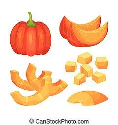 Set of pumpkins. Vector illustration on white background.
