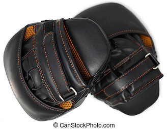 Set of punching mitts sports equipment over white.