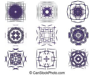 Set of purple abstract fractal pattern