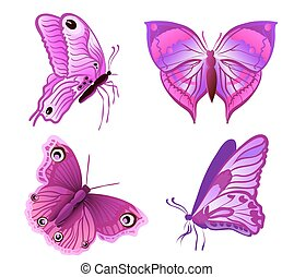 set of purple butterflies on white. vector