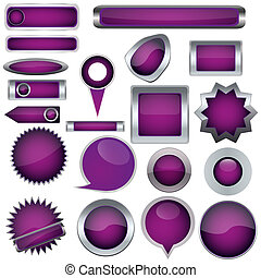 Set of purple buttons