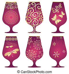 Set of purple Christmas glasses with gold decorative pattern...