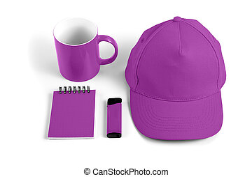 Set of purple elements for corporate identity design on white background.