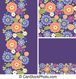 Set of purple flowers seamless pattern and borders backgrounds