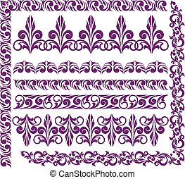 set of purple ornaments