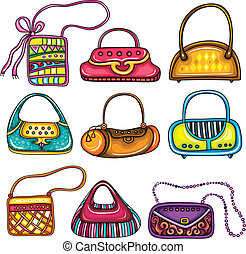 A set of beautifully designed colorful purses. Cute different shapes and prints. Totes, handbags, bucket bag, hobos, clutches, satches, shoulder bags, chain handle bags