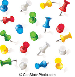 Set of push pins in different colors. Thumbtacks. Top view....