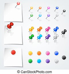 Set of push pins in different colors. Isolated on white background.