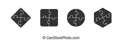 Set of puzzle icons. Simple flat design