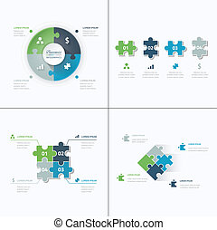 Set of puzzle pieces jigsaw business infographics concept...