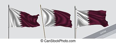 Set of Qatar waving flag on isolated background vector ...