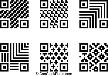 Set of QR Code with pattern, isolated on white
