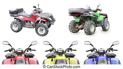 set of quad bike isolated on white background