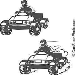 Set of quad bike with driver icons isolated on white background. Design elements for logo, label, emblem, sign, brand mark, poster.