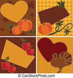 Set of quilted Thanksgiving cards - Four thanksgiving-themed...