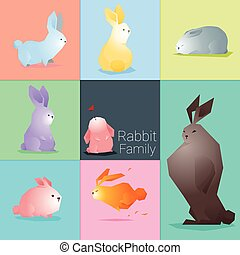 Set of rabbit family