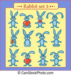 set of rabbits in vector