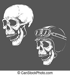 Set of racer skulls isolated on white background. Design element