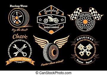 Set of racing badge