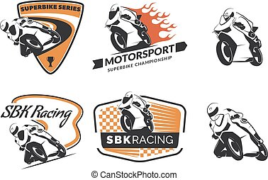 Set of racing motorcycle logo, badges and icons. Motorcycle repair, service and motorcycle club design elements. Superbike racing team logo. Vector.