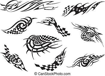 Set of racing tattoos