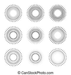 Set of radial halftone dots in circle form for comic books. Fireworks explosion background. EPS10 vector Illustration. Starburst round as logo or icon. Abstract geometric star rays.