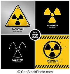 set of radiation warning symbols containing four unique...