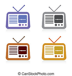 set of radio icon, vector