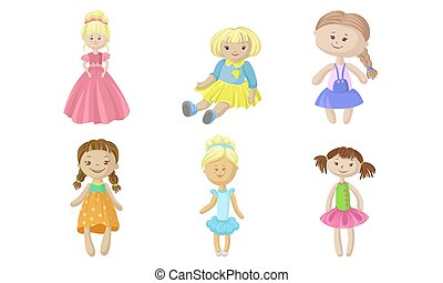 Set of rag dolls in dresses. Vector illustration.