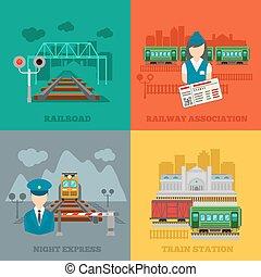 Set of railway flat concepts
