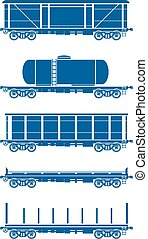 Set of Railway freight cars - Vector illustration