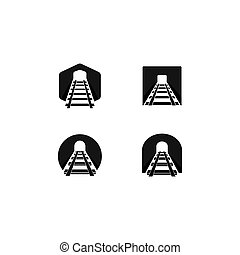Set of railway icon illustration