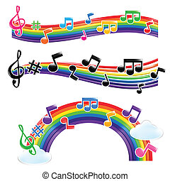 Set of rainbow ang music note vector illustration, isolated...