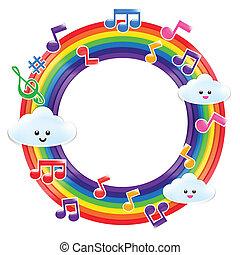 Set of rainbow ang music note