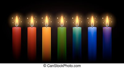 Set of rainbow candles. Vector element. Burning candle.