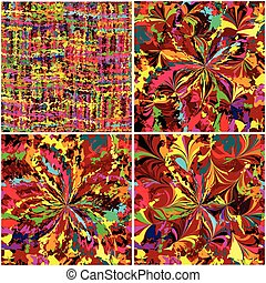 Set of rainbow grunge stained seamless patterns