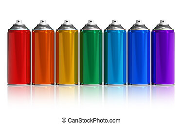 Set of rainbow paint spray cans isolated on white reflective...