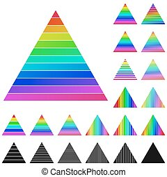 Set of rainbow pyramid logo icons