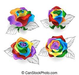 Set of rainbow roses