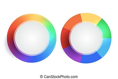 Set of rainbow round banners with place for text.