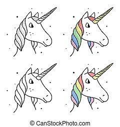 Set of rainbow unicorns in cartoon style isolated on white background.
