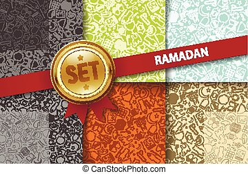 Set of ramadan backgrounds with doodle icons in different colors