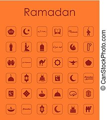 Set of ramadan simple icons