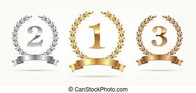 Set of rank emblems - gold, silver, bronze.