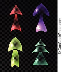 Set of ransparent multicolored arrows.