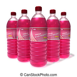 Set of raspberry drinks