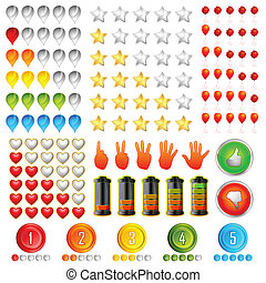 illustration of set of different rating icon including star, hand, point, heart and battery