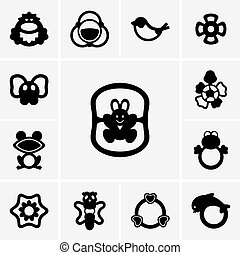 Set of rattles icons