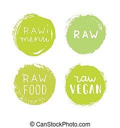 Set of raw vegan badges.
